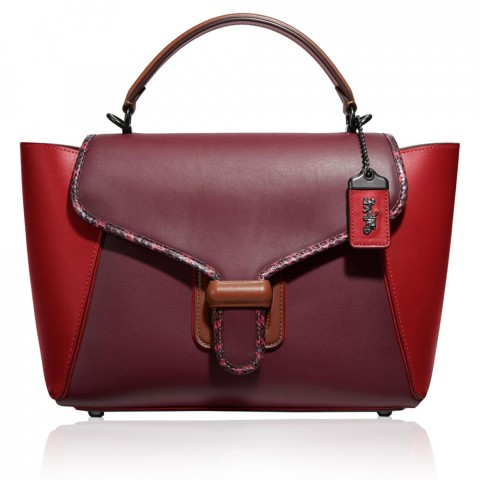 snakeskin colorblock courier carryall