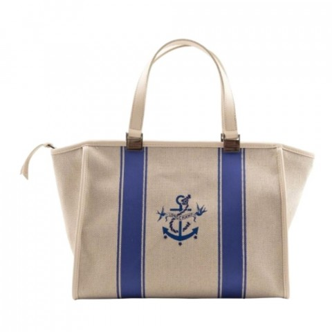 Nautique  Blue/Ecru Canvas Tote In Broken white